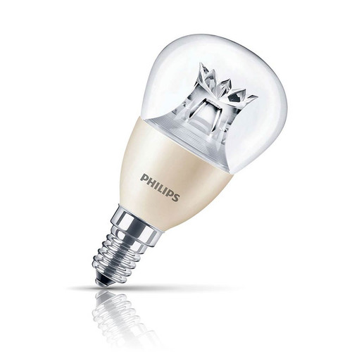 Philips Dimmable LED DimTone Golfball 6W E14 LEDluster Warm White Clear Image 1
