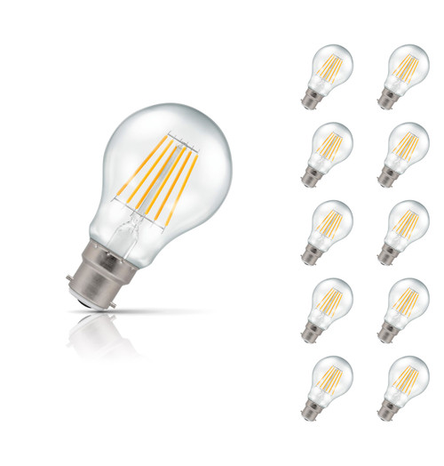 Crompton Lamps Dimmable LED GLS 7.5W B22 Filament (10 Pack) Warm White Clear (60W Eqv) Image 1