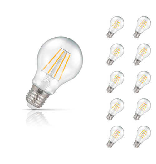 Crompton Lamps Dimmable LED GLS 7.5W E27 Filament (10 Pack) Warm White Clear (60W Eqv) Image 1