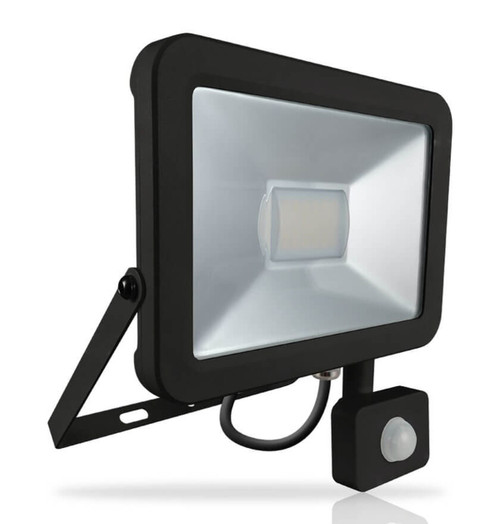Phoebe LED Floodlight 50W Atlas PIR Sensor Cool White 110° Black IP66 Image 1