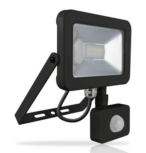 Phoebe LED Floodlight 10W Atlas PIR Sensor Cool White 110° Black IP66 Image 1