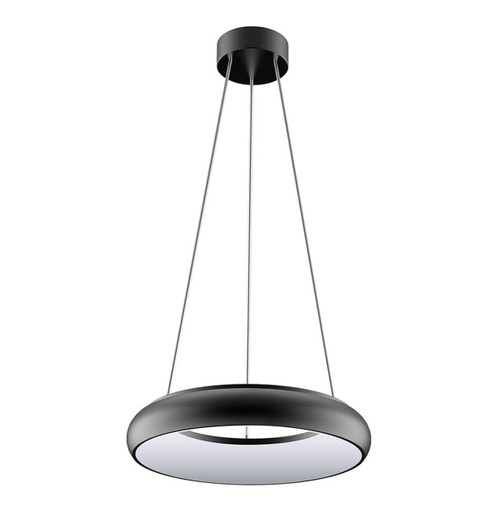 Phoebe LED Drop Pendant Downlight 25W Polo Warm White 120° Diffused Black Image 1