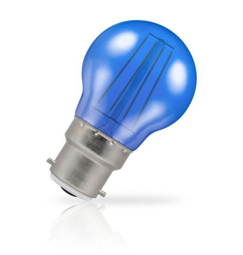 Crompton Lamps LED Golfball 4W B22 Harlequin IP65 Blue Translucent Image 1