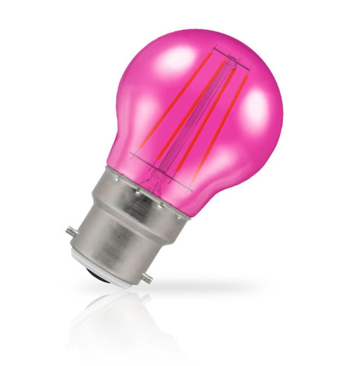 Crompton Lamps LED Golfball 4W B22 Harlequin IP65 Pink Translucent Image 1