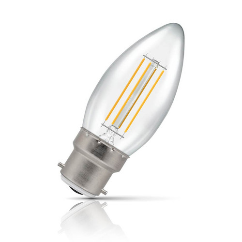 Crompton Lamps Dimmable LED Candle 5W B22 Filament Warm White Clear (40W Eqv) Image 1