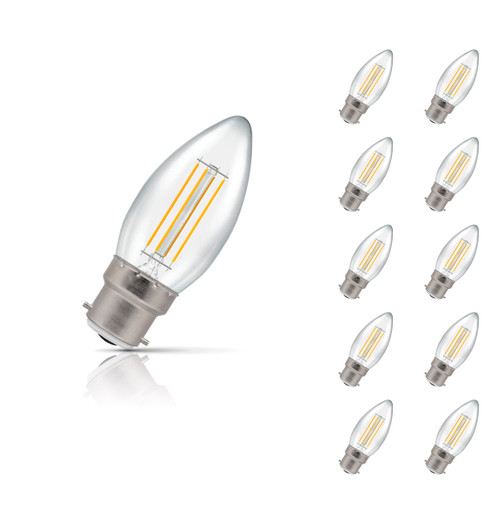 Crompton Lamps Dimmable LED Candle 5W B22 Filament (10 Pack) Warm White Clear (40W Eqv) Image 1