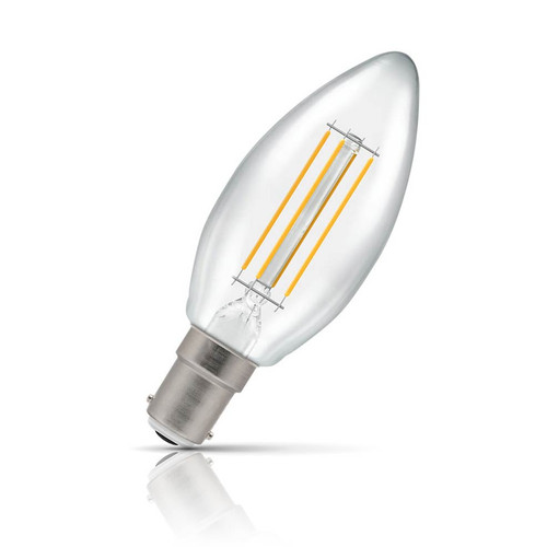 Crompton Lamps Dimmable LED Candle 5W B15 Filament Warm White Clear (40W Eqv) Image 1