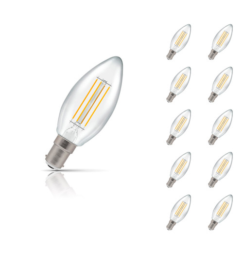 Crompton Lamps Dimmable LED Candle 5W B15 Filament (10 Pack) Warm White Clear (40W Eqv) Image 1