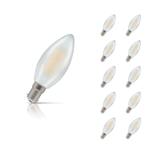 Crompton Lamps Dimmable LED Candle 5W B15 Filament (10 Pack) Warm White Pearl (40W Eqv) Image 1
