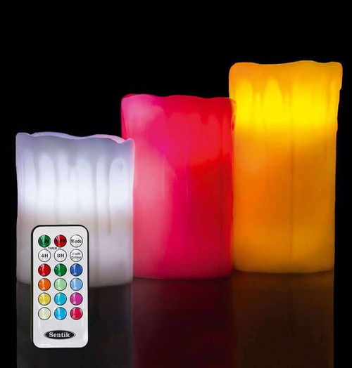 Sentik LED Drip-Effect Scented Mood Candles (3 Pack) Colour Changing Flameless Image 1