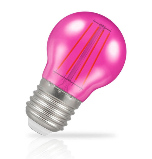 Crompton Lamps LED Golfball 4W E27 Harlequin IP65 Pink Translucent Image 1