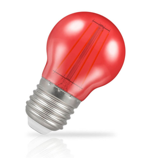 Crompton Lamps LED Golfball 4W E27 Harlequin IP65 Red Translucent Image 1
