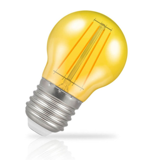 Crompton Lamps LED Golfball 4W E27 Harlequin IP65 Yellow Translucent Image 1