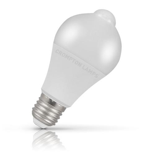 Crompton Lamps LED Motion Sensor GLS 10W E27 Dusk Til Dawn Warm White Opal (60W Eqv) Image 1