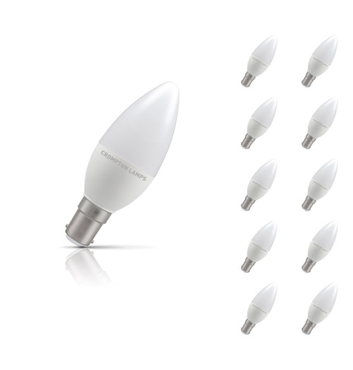 Crompton Lamps LED Candle 5.5W B15 (10 Pack) Warm White Opal (40W Eqv) Image 1