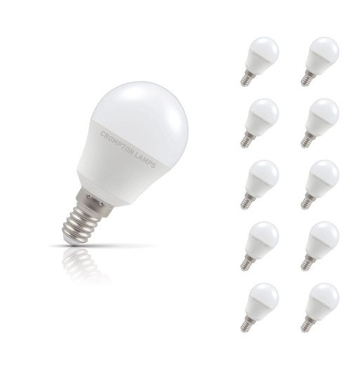 Crompton Lamps LED Golfball 5.5W E14 (10 Pack) Warm White Opal (40W Eqv) Image 1