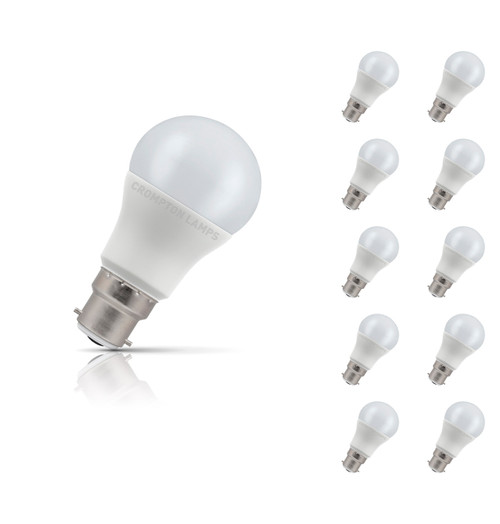 Crompton Lamps LED GLS 8.5W B22 (10 Pack) Warm White Opal (60W Eqv) Image 1