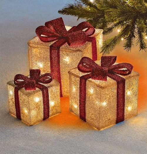 Sentik LED Christmas Parcels Gold (Set of 3) Image 1