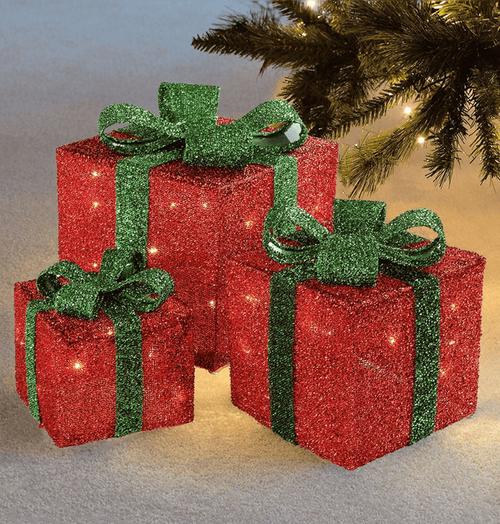 Sentik LED Christmas Parcels Red (Set of 3) Image 1