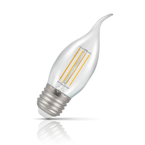 Crompton Lamps Dimmable LED Bent Tip Candle 5W E27 Filament Warm White Clear (40W Eqv) Image 1