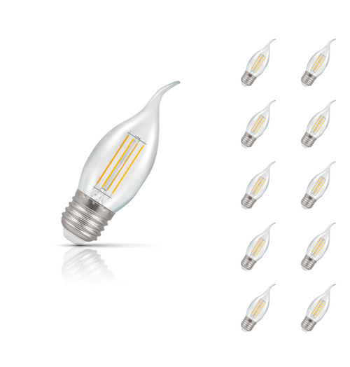 Crompton Lamps Dimmable LED Bent Tip Candle 5W E27 Filament (10 Pack) Warm White Clear (40W Eqv) Image 1
