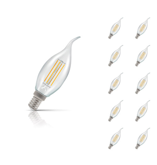 Crompton Lamps Dimmable LED Bent Tip Candle 5W E14 Filament (10 Pack) Warm White Clear (40W Eqv) Image 1