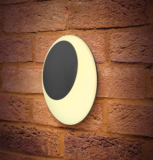 Integral LED Wall Light 13W GeoLox Elliptical Warm White Dark Grey Image 1