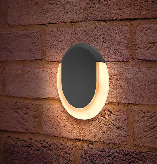 Integral LED Wall Light 8W Lunox Mini Warm White Dark Grey Image 1