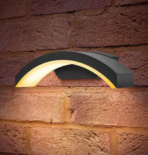 Integral LED Wall Light 7.5W Curve Warm White Dark Grey Image 1