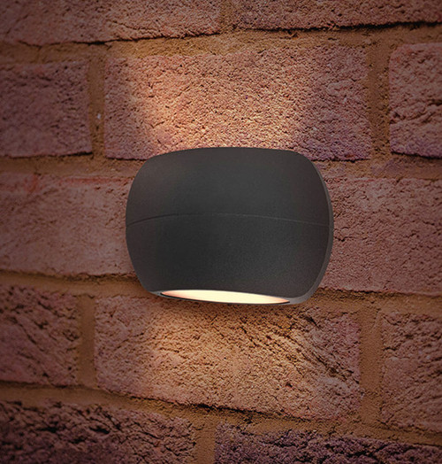 Integral LED Wall Light 8.5W Lux Stone Warm White Dark Grey Image 1