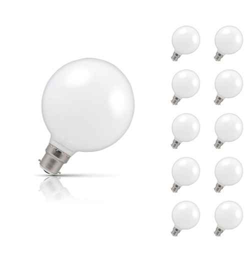 Crompton Lamps Dimmable LED Globe 7W B22 (10 Pack) Warm White Opal Image 1