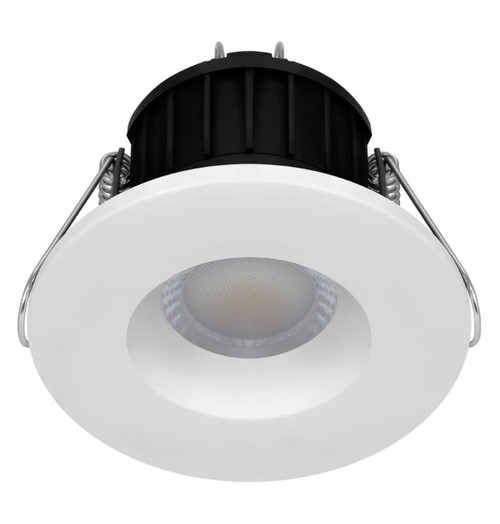 Phoebe Dim LED Fire Rated Downlight 8.5W Firesafe Tri-Colour CCT 60° White and Brushed Nickel IP65 Image 1