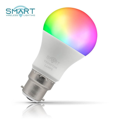 Crompton Lamps Dimmable LED Smart Wifi GLS 8.5W B22 Warm White + RGB Opal Image 1