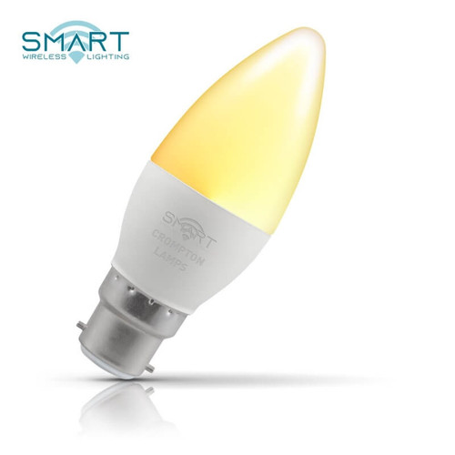 Crompton Lamps Dimmable LED Smart Wifi Candle 5W B22 Warm White Opal Image 1