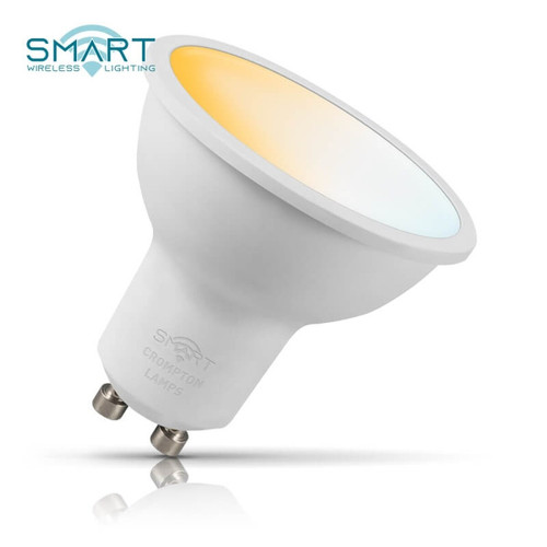 Crompton Lamps Dimmable LED Smart Wifi GU10 Spotlight 5W Tuneable White 100° Opal Image 1