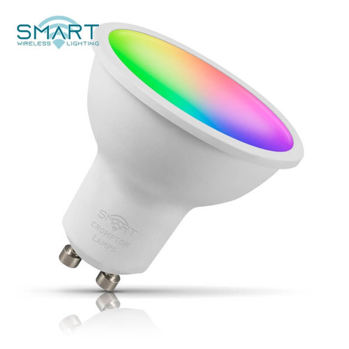 Crompton Lamps Dimmable LED Smart Wifi GU10 Spotlight 5W RGB and Warm White 100° Opal Image 1