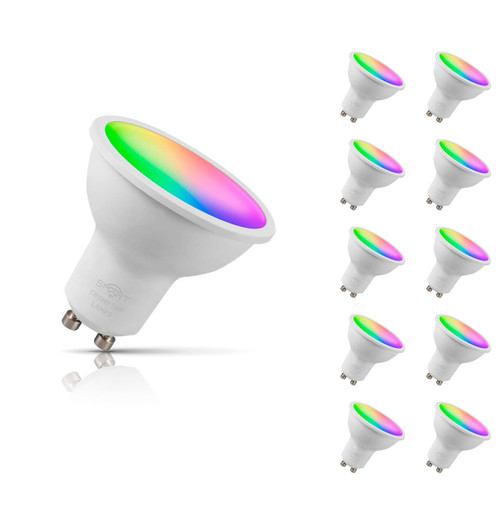 Crompton Lamps Dimmable LED Smart Wifi GU10 Spotlight 5W (10 Pack) RGB and Warm White 100° Opal Image 1