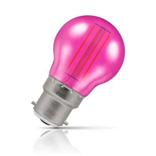 Crompton Lamps LED Golfball 4.5W B22 Harlequin IP65 Pink Translucent Image 1