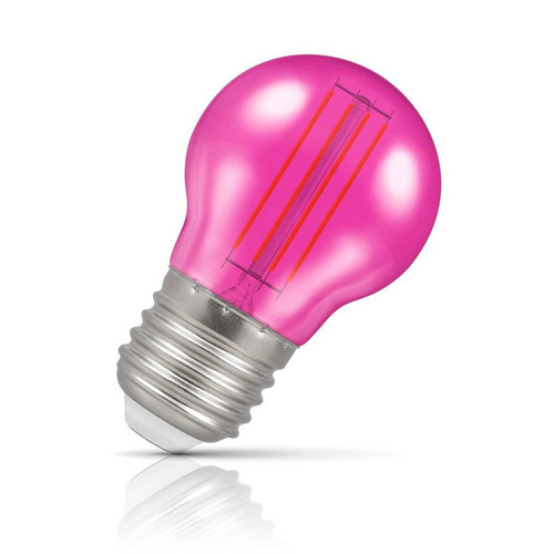 Crompton Lamps LED Golfball 4.5W E27 Harlequin IP65 Pink Translucent Image 1