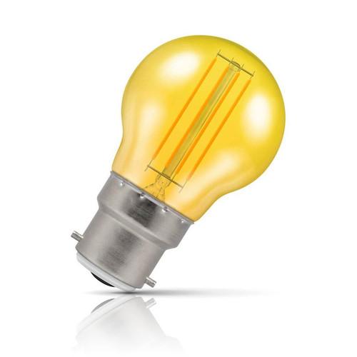 Crompton Lamps LED Golfball 4.5W B22 Harlequin IP65 Yellow Translucent Image 1