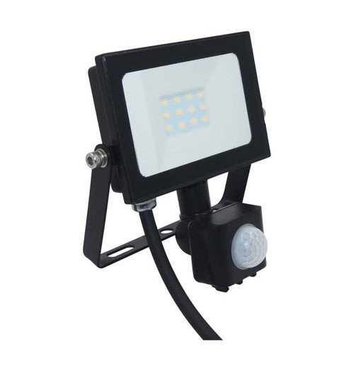 Phoebe LED Floodlight 10W Atlas-Mini PIR Sensor Cool White Black IP65 Image 1