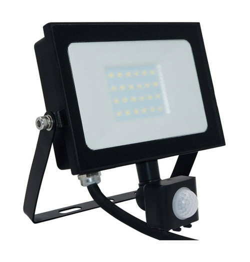 Phoebe LED Floodlight 20W Atlas-Mini PIR Sensor Cool White Black IP65 Image 1