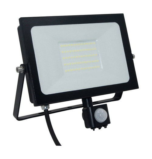 Phoebe LED Floodlight 50W Atlas-Mini PIR Sensor Cool White Black IP66 Image 1