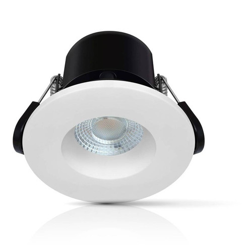 Phoebe Dim LED Fire Rated Downlight 6.7W Firesafe Eco Warm White 60° White or Brushed Nickel IP65 Image 1