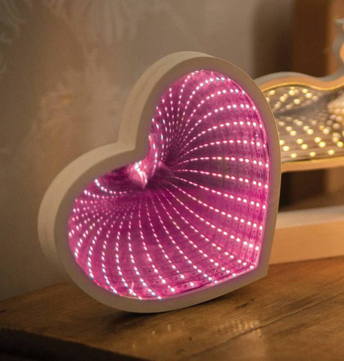 Lyyt LED Infinity Mirror Heart Pink Wooden Image 1