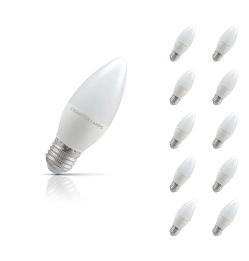 Crompton Lamps LED Candle 5.5W E27 (10 Pack) Cool White Opal (40W Eqv) Image 1