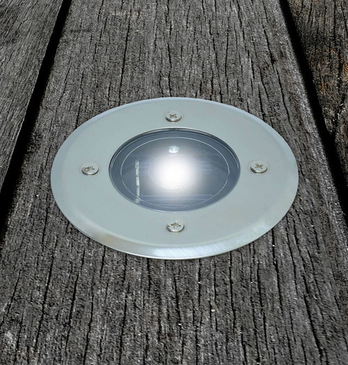 Solalite LED Solar Deck Light (4 Pack) White Stainless Steel Image 1