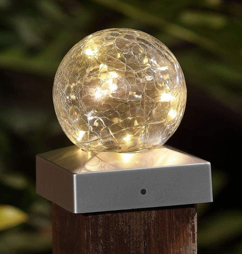 Solalite LED Solar Crackle Ball Fence Light (2 Pack) Warm White Image 1