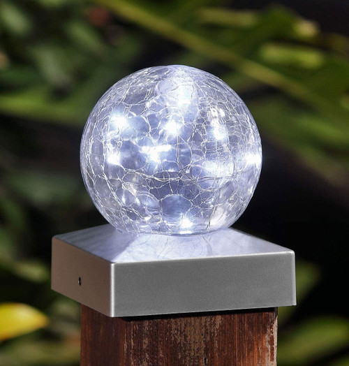 Solalite LED Solar Crackle Ball Fence Light (2 Pack) Cool White Image 1