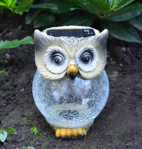 Solalite LED Solar Crackle Ball Owl Image 1